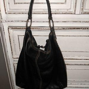 Lucky Brand black leather hobo bag purse EUC